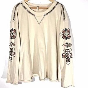 Free People Sweater Embroidered Beaded G25